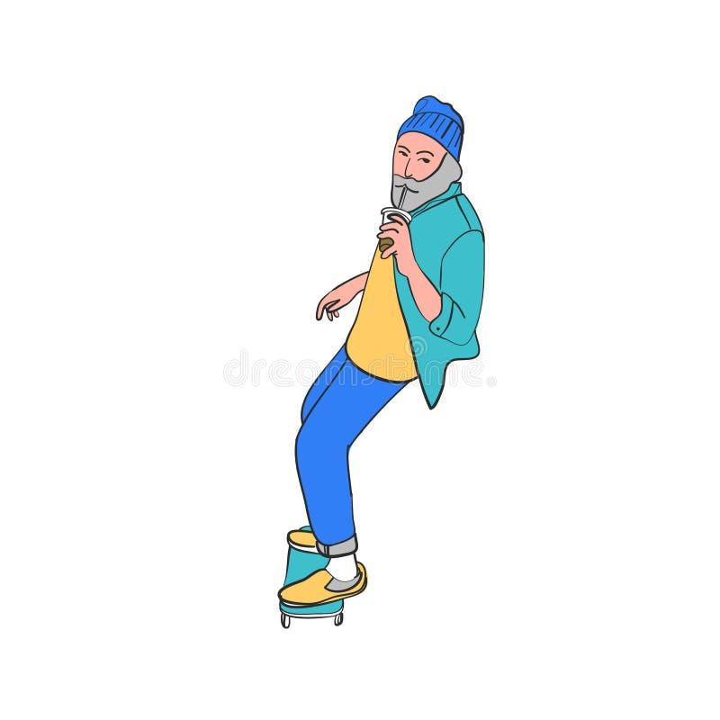 Μοντέρνος σκέιτερ στα τζιν και τα πάνινα παπούτσια Skateboard Διανυσματική απεικόνιση για μια κάρτα ή μια αφίσα, τυπωμένη ύλη για ελεύθερη απεικόνιση δικαιώματος