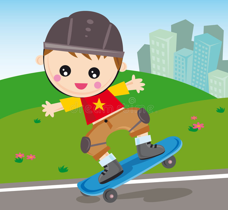 Skateboard boy. Illustration of little boy running on skateboard