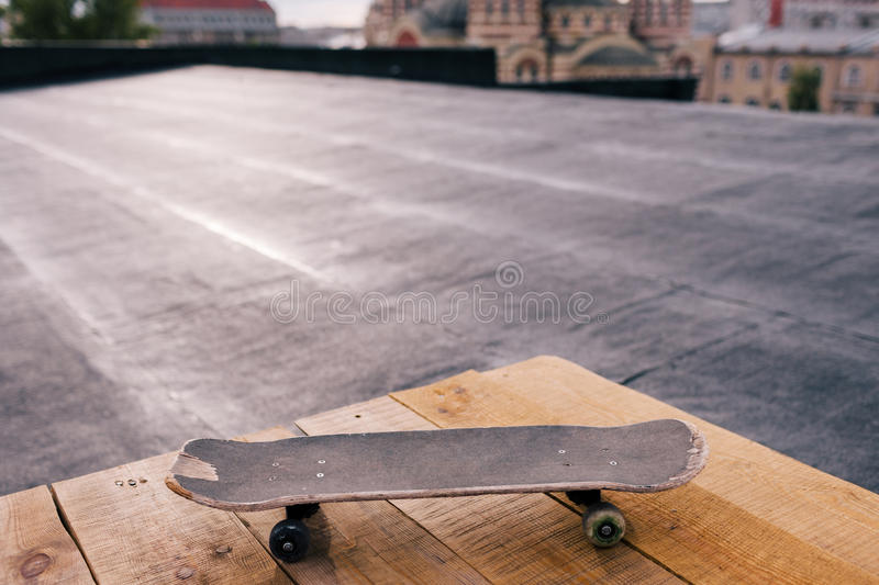 Skateboard closeup with copy space royalty free stock photography