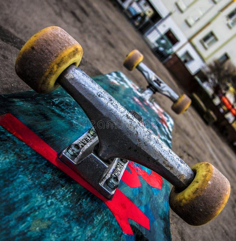 Skateboard. A colourful skateboard I found on a backyard stock photo