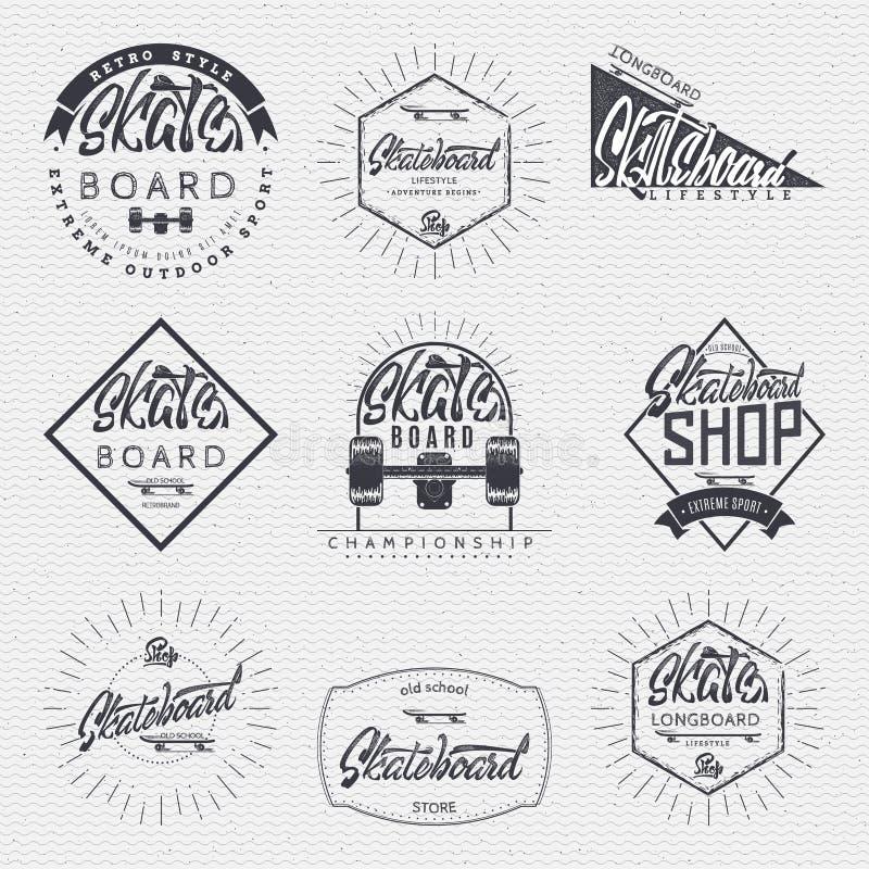 Skateboard - de insignes, kenteken, etiket, teken, druk, zegel, kunnen in het ontwerp worden gebruikt royalty-vrije illustratie