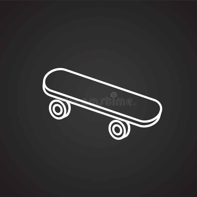 Skateboard dunne lijn op zwarte achtergrond stock illustratie