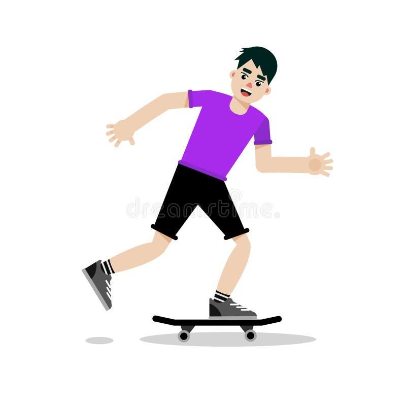 Skateboard för ridning för skateboradåkarepojketecken Plan tecknad filmillustration för vektor stock illustrationer