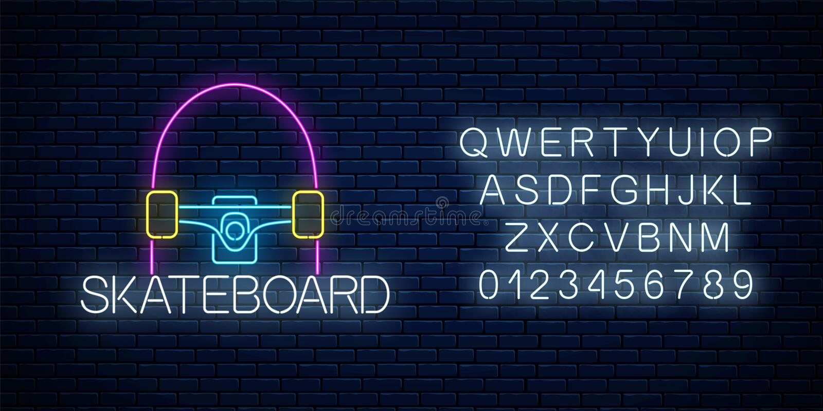 Skateboard glowing neon sign and alphabet. Skating zone symbol in neon style. Skateboard rent logo. Vector illustration royalty free illustration