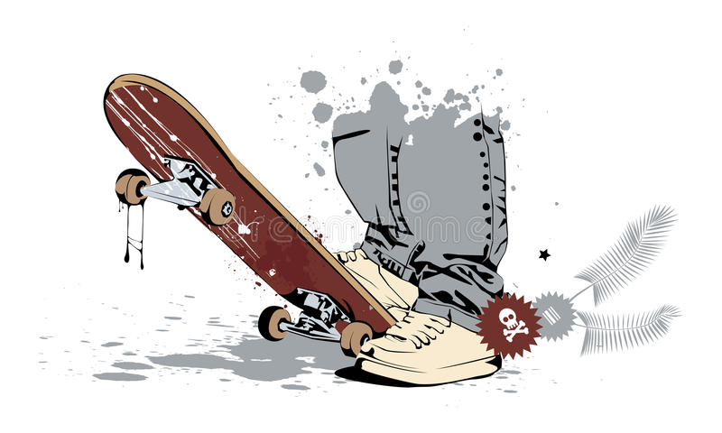 Skateboard with his feet in sneakers stock illustration