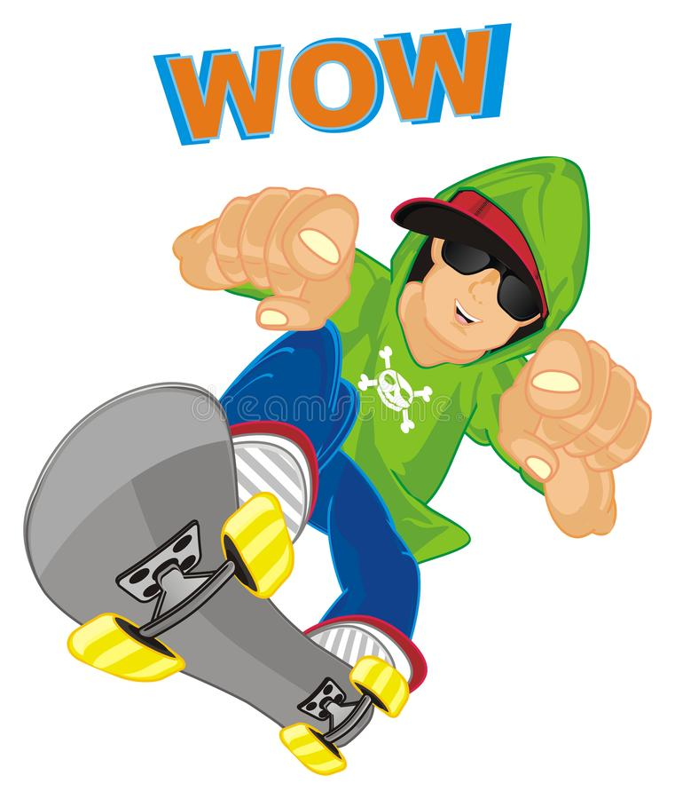 Skateboard ist wow lizenzfreie abbildung