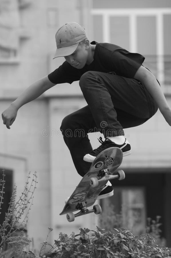 Skateboard jump stock photo