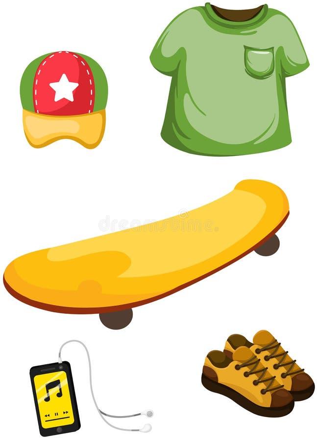 Skateboard, Musikspieler und Kleidung lizenzfreie abbildung