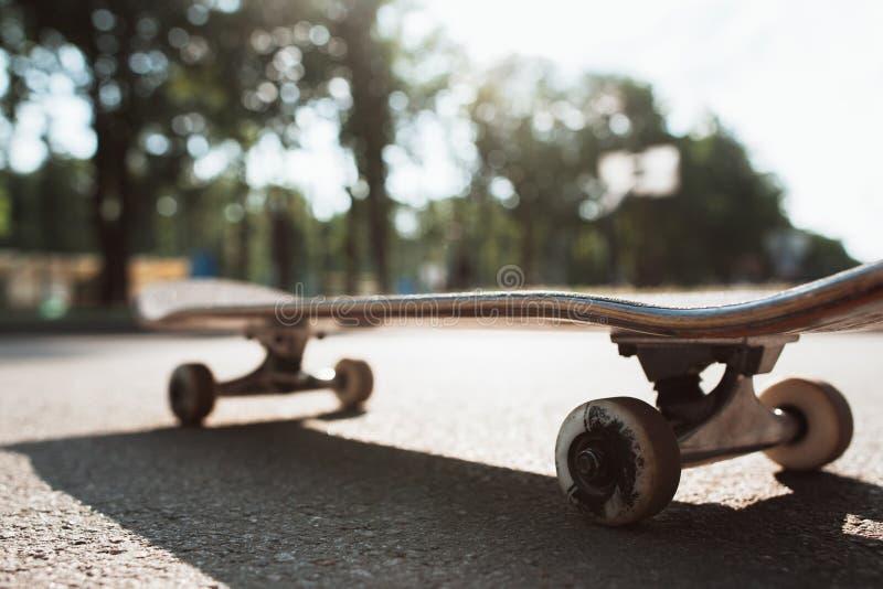 Skateboard på vägen Extrem sportutmaning royaltyfri foto
