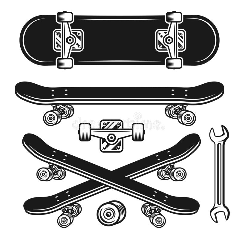 Free Skateboard Parts Set Of Vector Objects Or Elements Stock Photography - 125554002