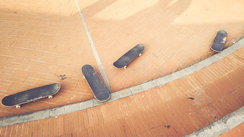 Skateboard on the road used to make fantastic evolutions stock image