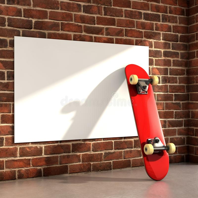 Skateboard. On room with a white frame on wall 3d illustration vector illustration