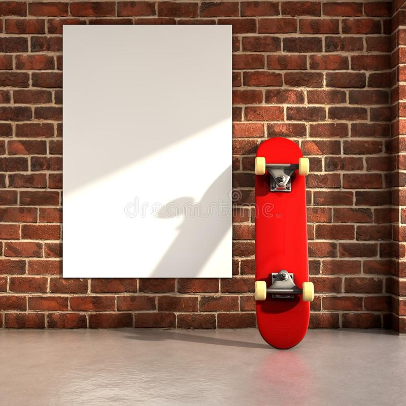 Skateboard. On room with a white frame on wall 3d illustration stock illustration
