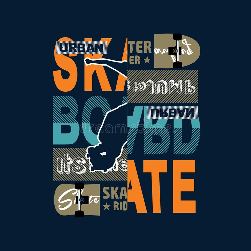 Free Skateboard Silhouette Typography T Shirt Vector Stock Image - 140648101