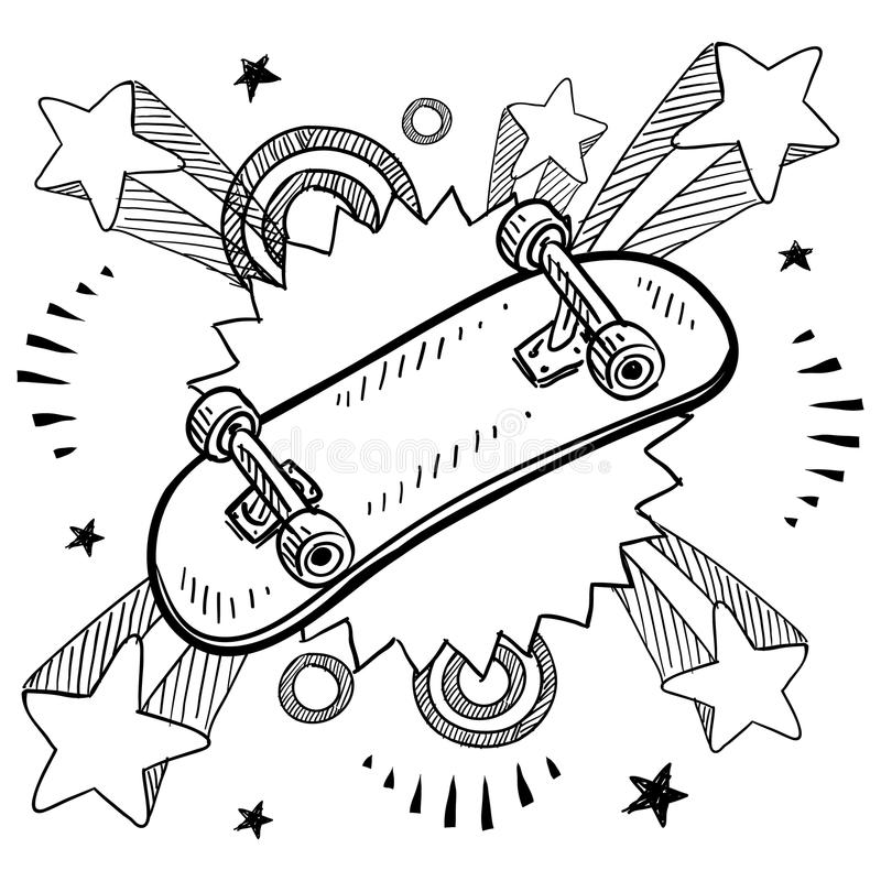 Skateboard sketch. Doodle style sketch of a skateboard with pop explosion background in 1960s or 1970s style in vector illustration stock illustration