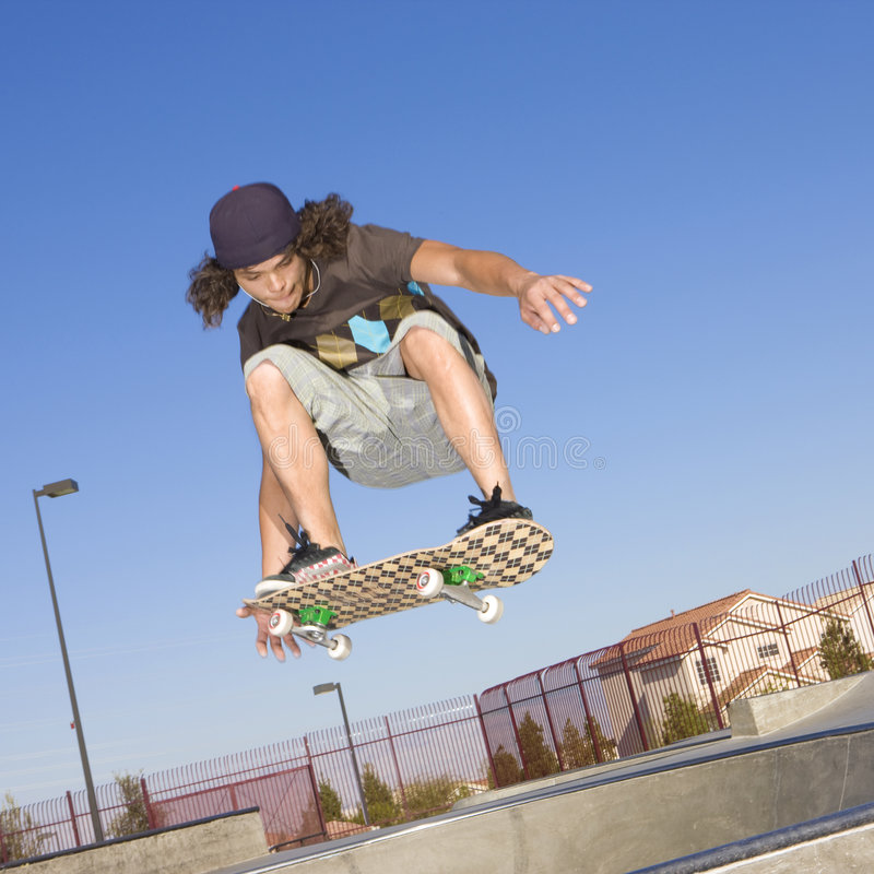 Skateboard tricks stock photo