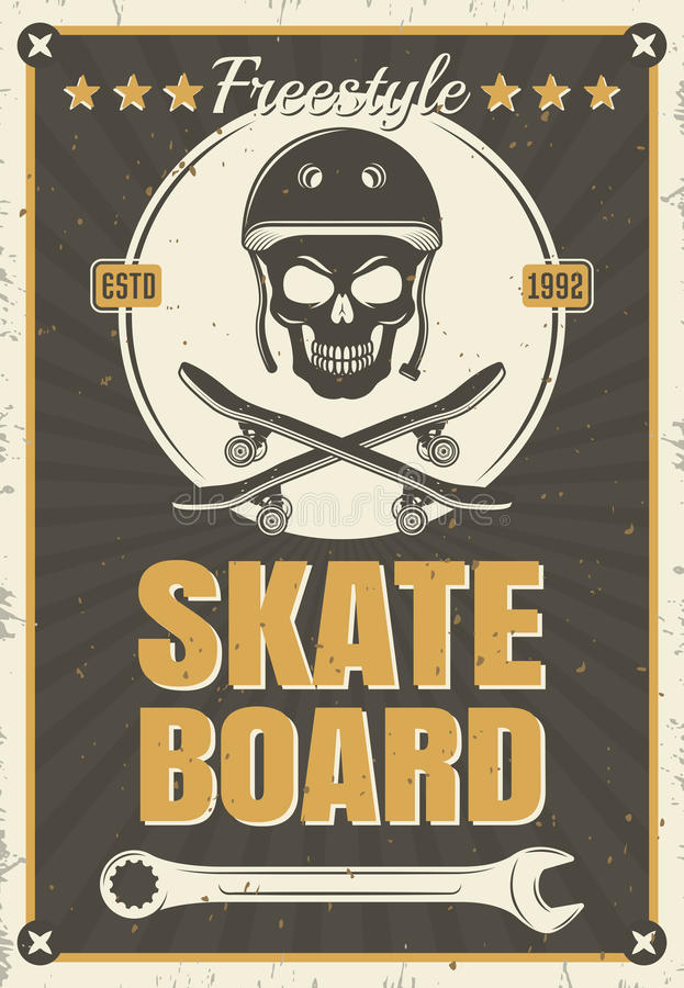 Skateboard Uitstekende Affiche royalty-vrije illustratie