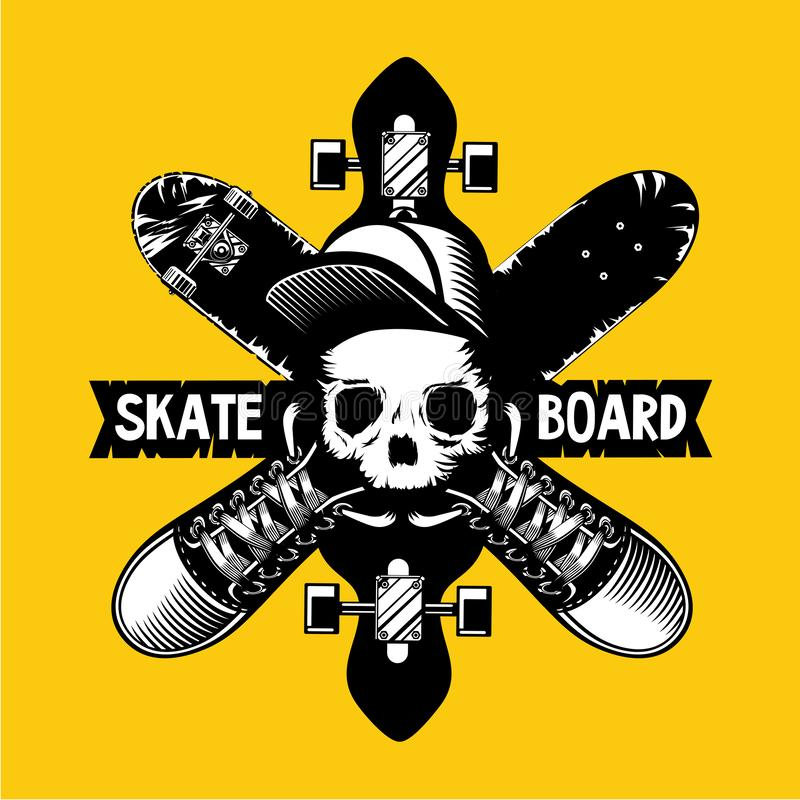 Skateboard vector emblem with skull and boards. Tattoo style vector illustration on isolated background. stock illustration