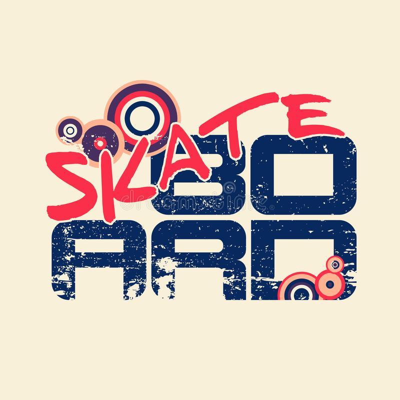 Skateboardemblem für Reiterhemd Entwerfer Evgeniy Kotelevskiy stock abbildung