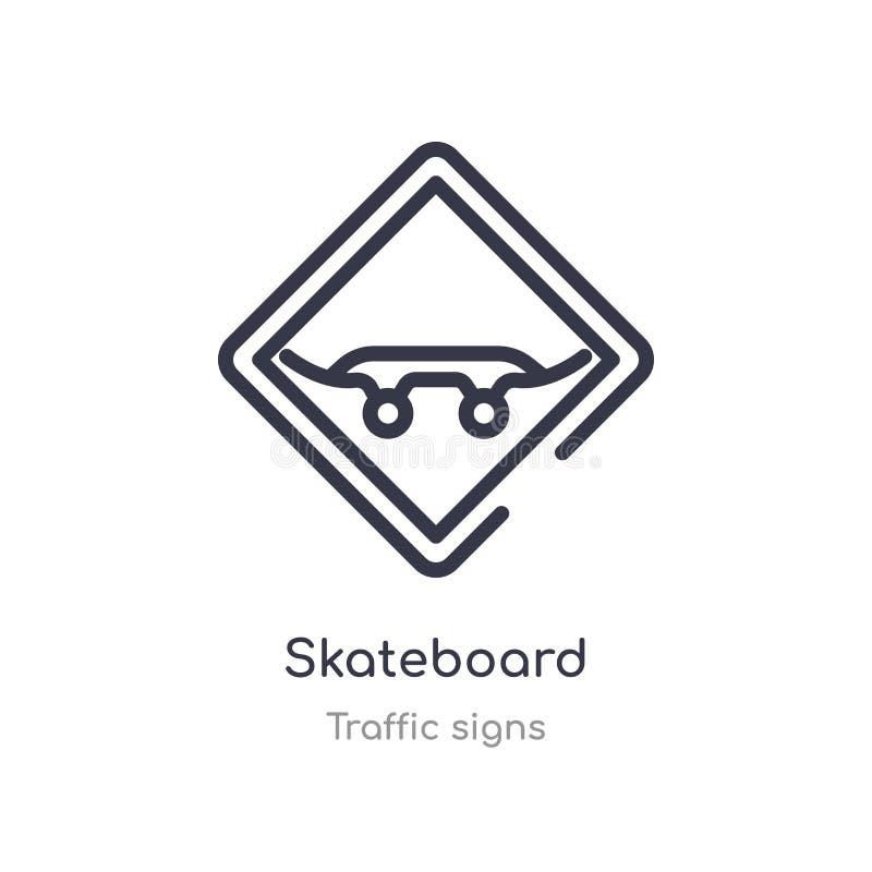 Skateboardentwurfsikone lokalisierte Linie Vektorillustration von der Verkehrsschildersammlung editable Haarstrichskateboardikone stock abbildung