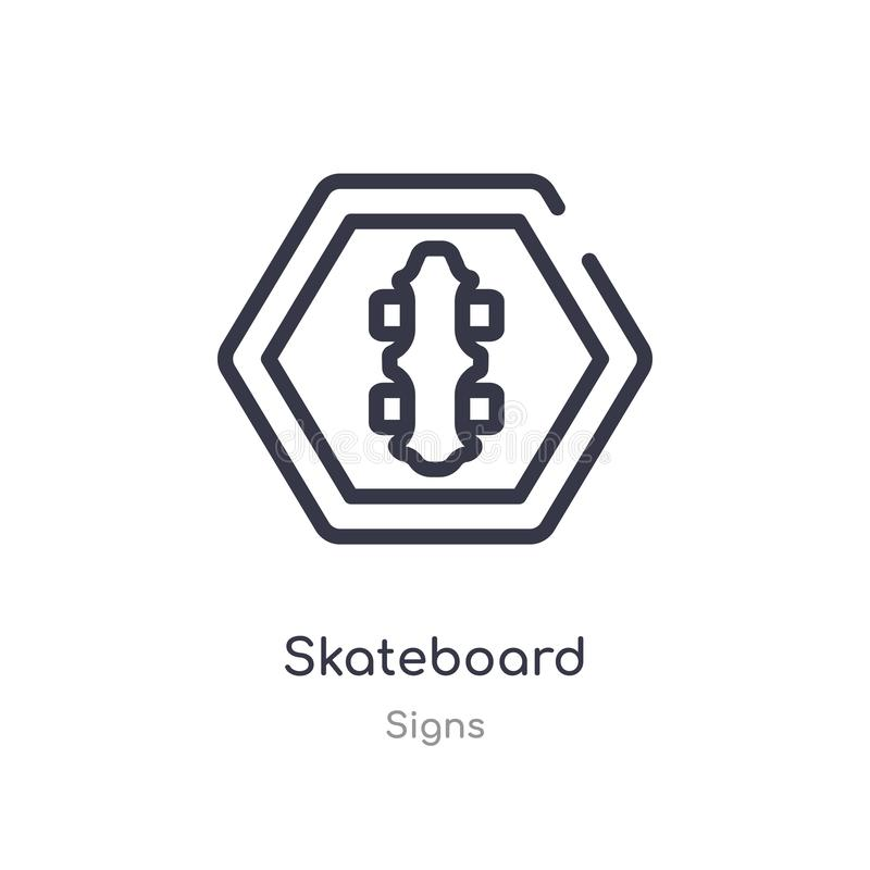 Skateboardentwurfsikone lokalisierte Linie Vektorillustration von der Zeichensammlung editable Haarstrichskateboardikone auf Weiß stock abbildung