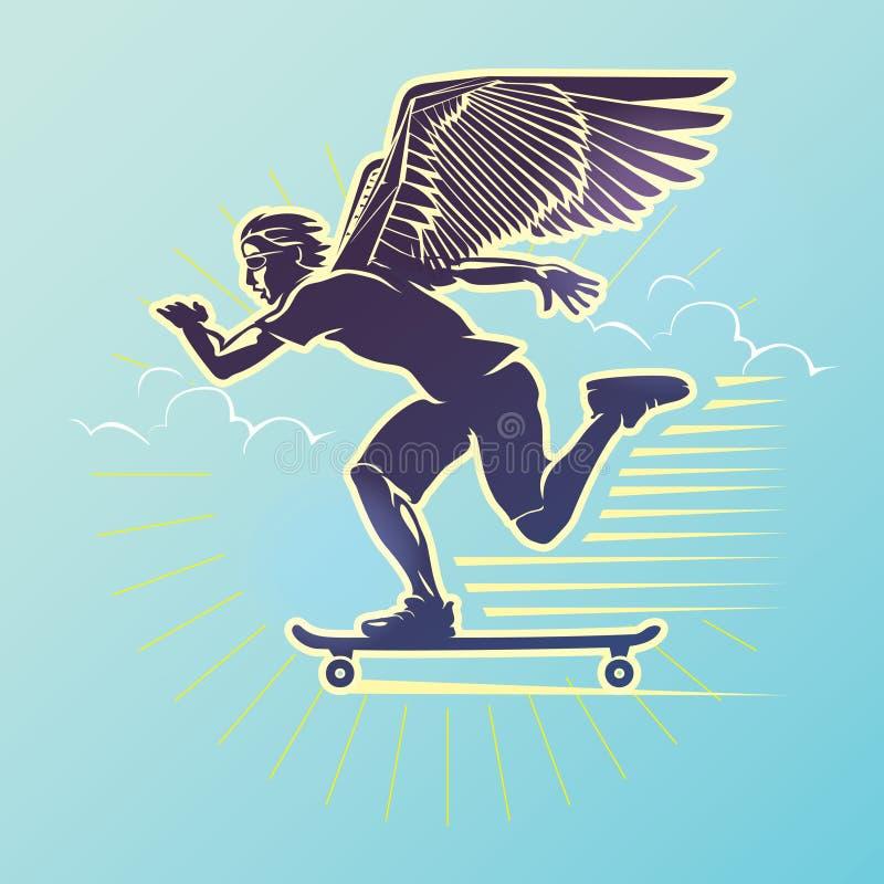 Skateboarder σε μια κίνηση απεικόνιση αποθεμάτων