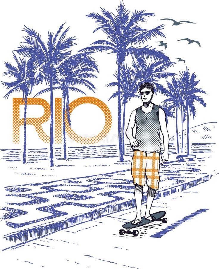 Skateboarder στο Ρίο διανυσματική απεικόνιση