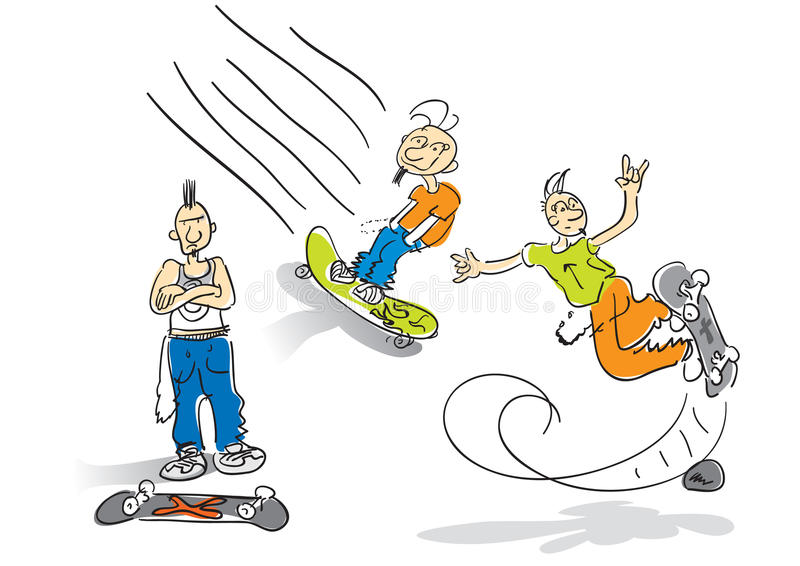 Skateboarder cartoon stock images