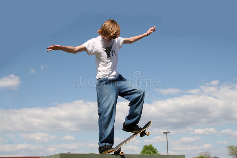 Download Skateboarder in Clouds stock image. Image of brave, jump - 161647