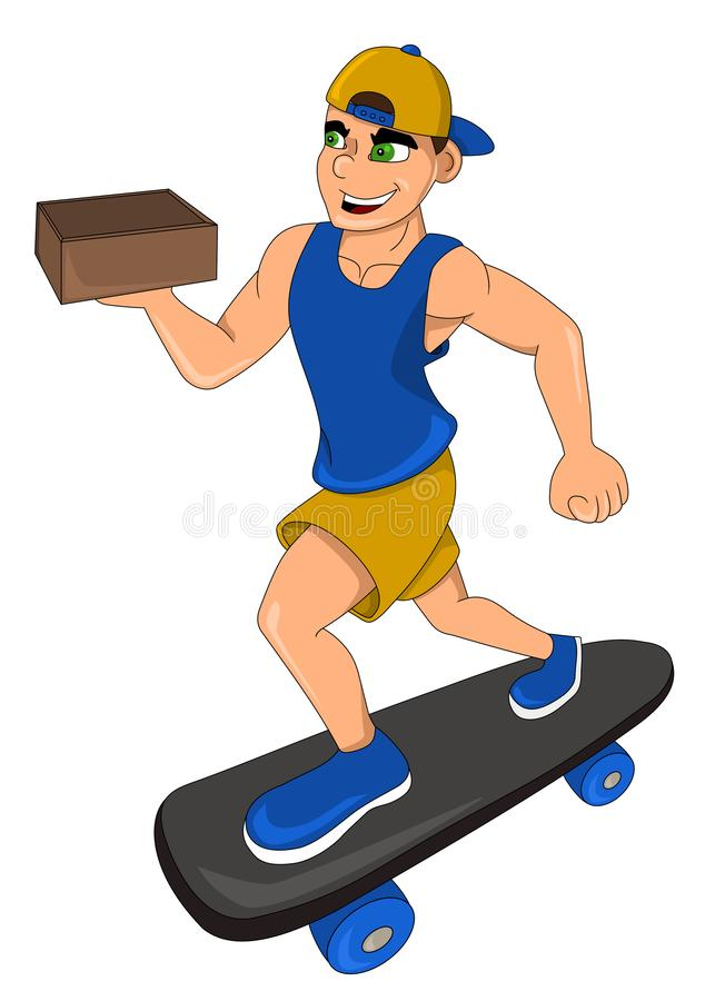 Skateboarder delivering a box cartoon royalty free stock photo