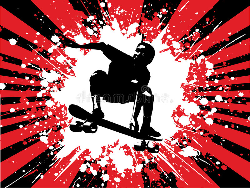 Skateboarder di Grunge illustrazione di stock