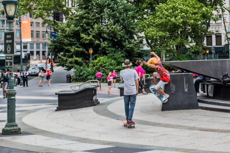 Skateboarder Foley Square fotografía de archivo