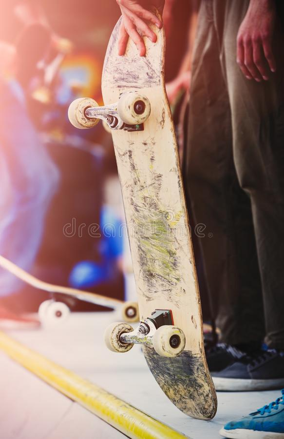 Group of skater boys compete in skate contest outdoor royalty free stock photo