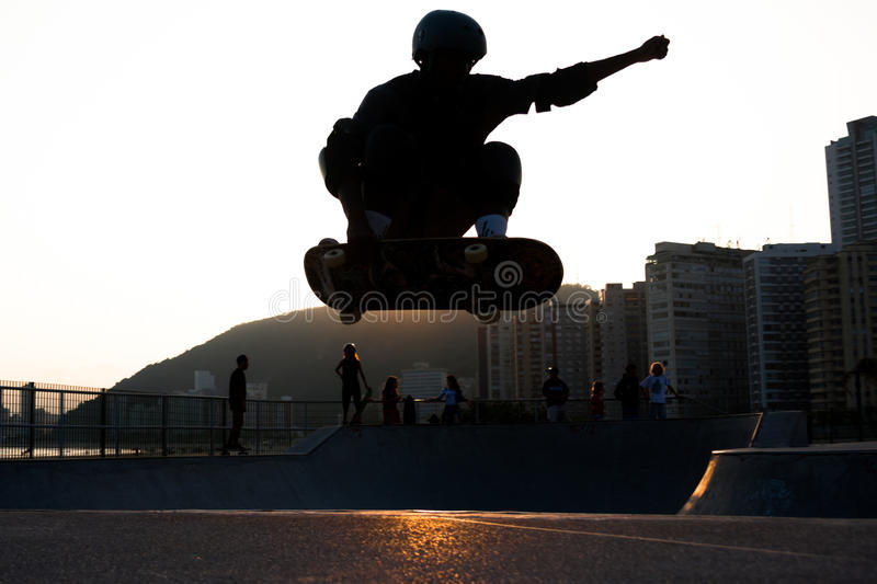Skateboarder Jumping royalty free stock photography