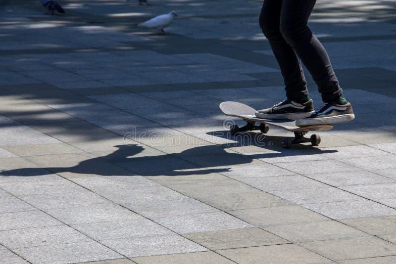 Skateboarder legs riding skateboard at skatepark royalty free stock photography