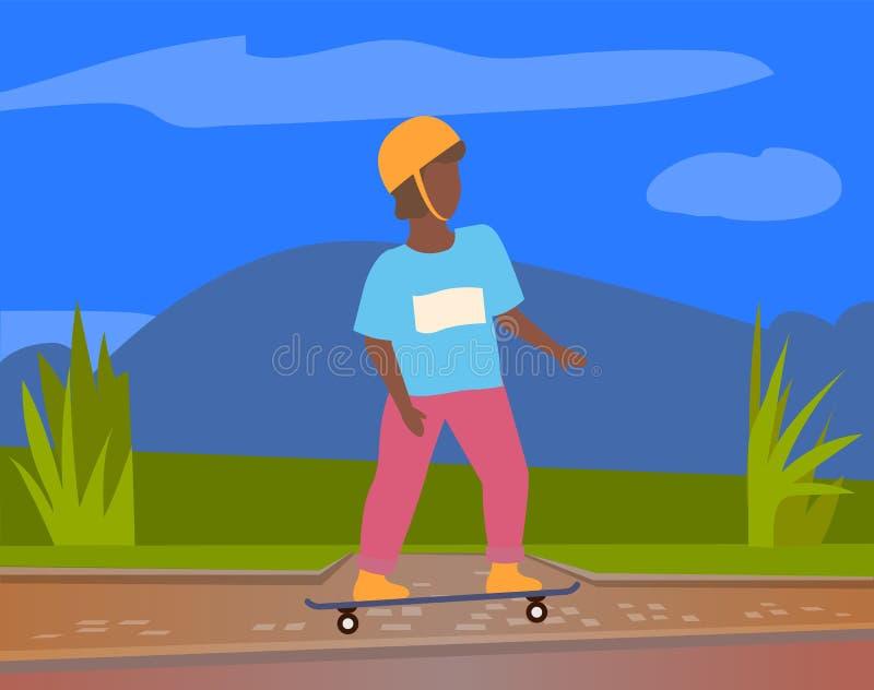 Skateboarder in Protective Helmet Riding Outdoors. Skateboarder in protective helmet riding on board outdoors, vector cartoon style kid in city park. Skating stock illustration