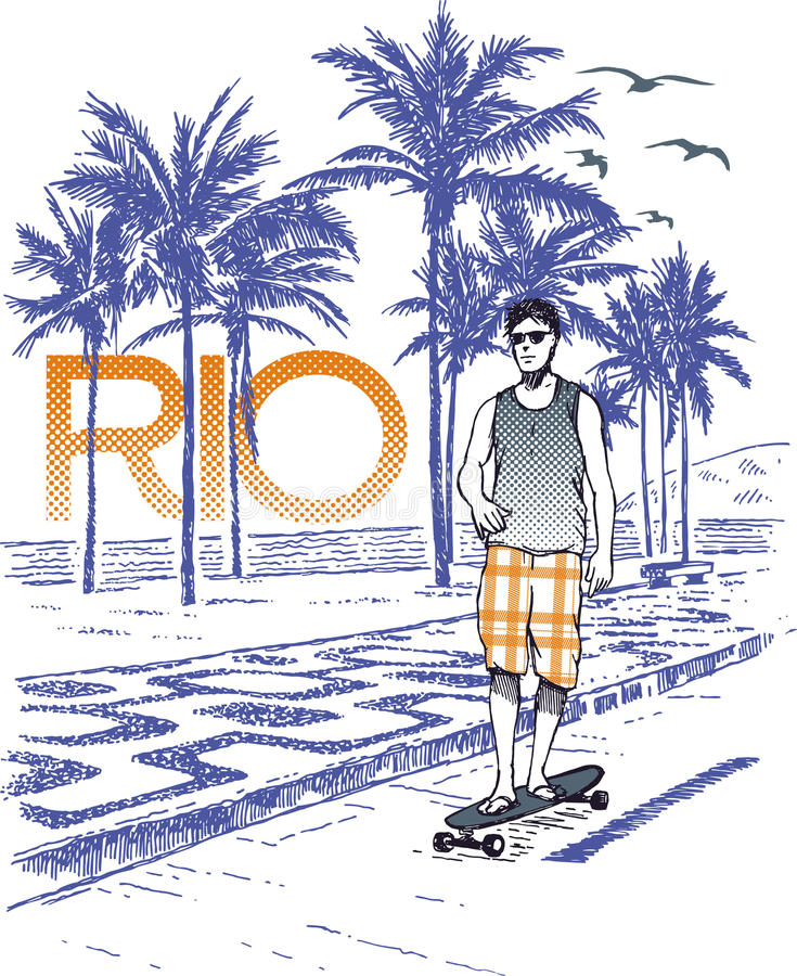Skateboarder in Rio vector illustratie
