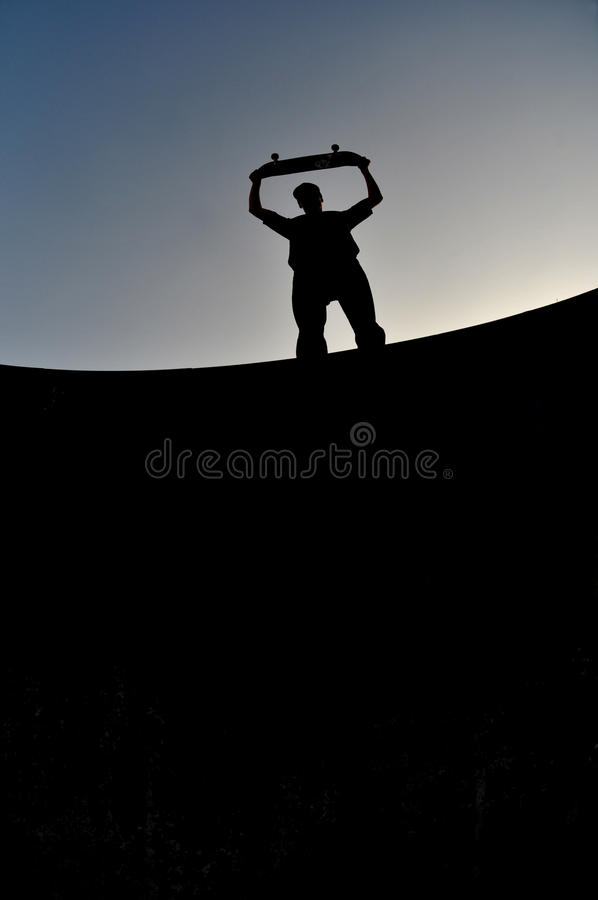 Skateboarder silhouette stock photography