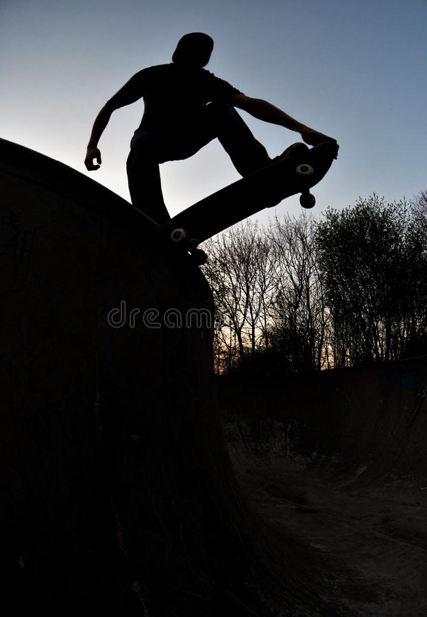 Skateboarder silhouette stock photos