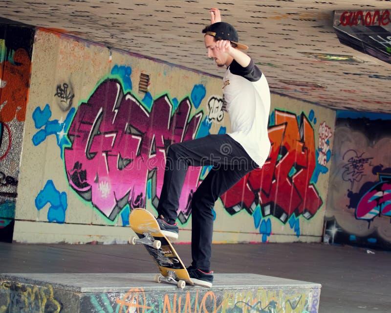 Skateboarder at skate park. LONDON - MARCH 26, 2016: Skateboarder At Southbank Undercroft Skatepark royalty free stock image
