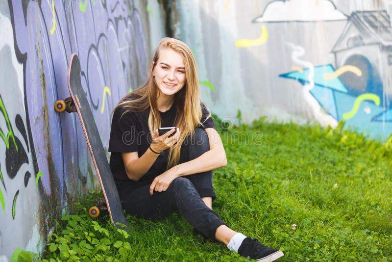 Skateboarder in a skatepark stock images