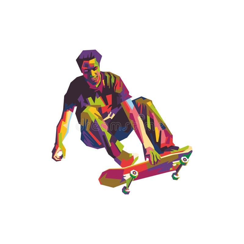 Skateboarder in wpap stock illustratie