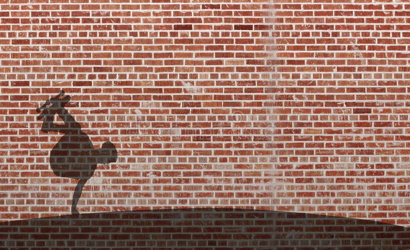 Skateboarder. Young male skateboarder shadow on red brick wall preforming tricks on a half pipe stock photography