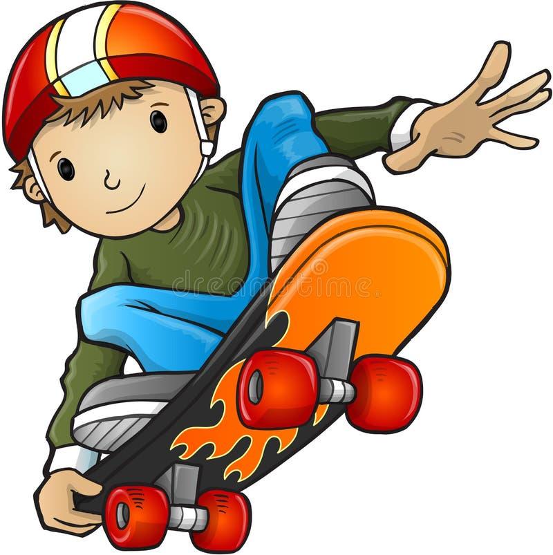 Skateboarderbarnvektor royaltyfri illustrationer