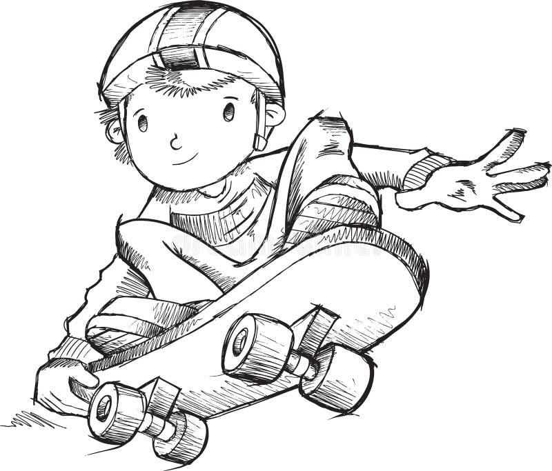 Skateboarderklottervektor royaltyfri illustrationer