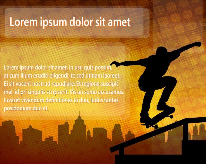 Skateboarderkontur över abstrakt bakgrund med utrymme för vektor illustrationer