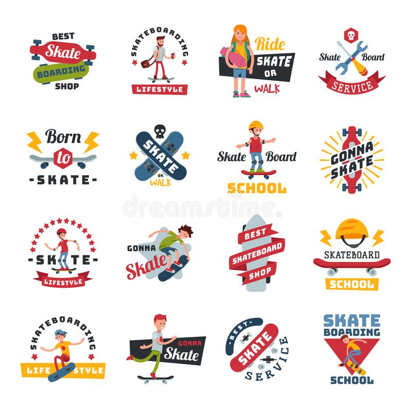 Skateboarders people tricks silhouettes sport logo badge for team extreme skateboarding urban life people vector stock illustration
