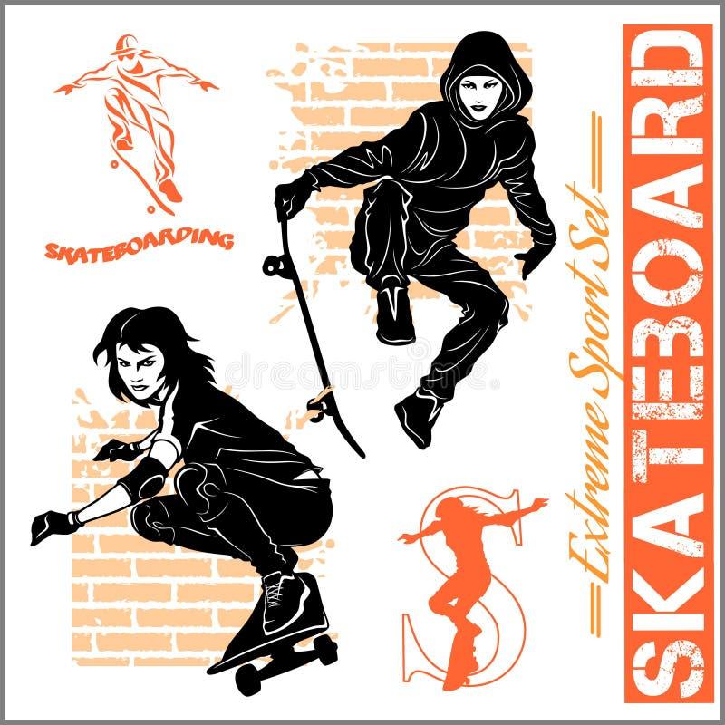 Skateboarders - vectorreeks van extreme sport vector illustratie