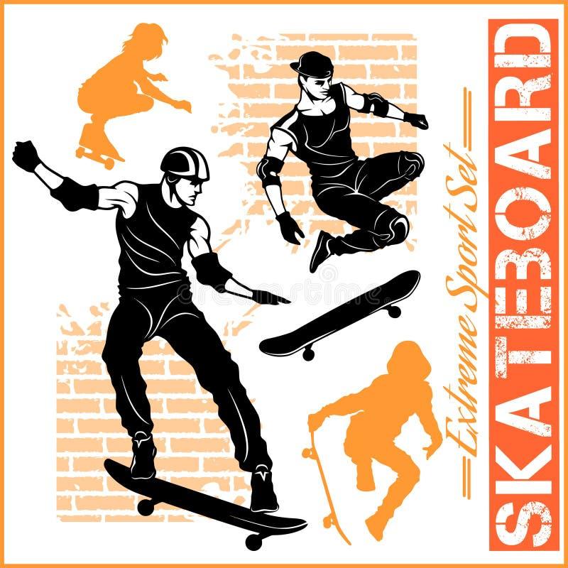 Skateboarders - vectorreeks van extreme sport royalty-vrije illustratie