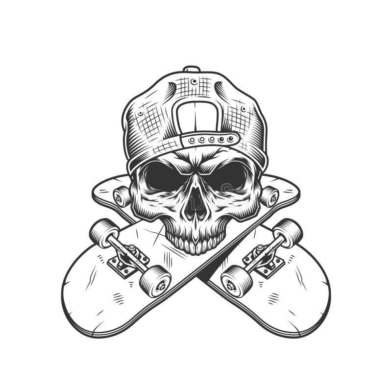 Skateboarderschedel zonder kaak vector illustratie